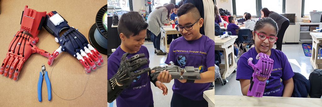 Children learning about the 3D Printed hands of the e-NABLE Project