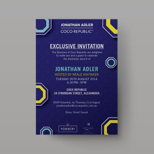 Coco Republic x Jonathan Adler - Invitation Design - Packaging Design Sydney