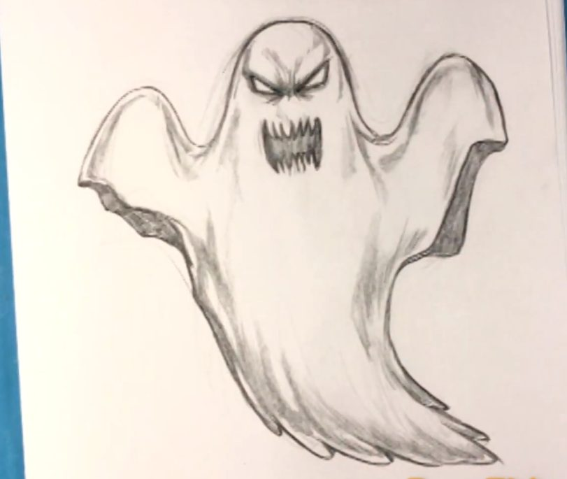 how to draw a ghost step by step