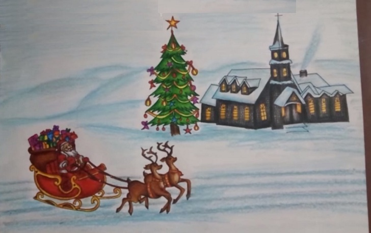 christmas scene drawing