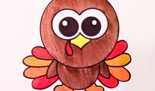 cute turkey drawing