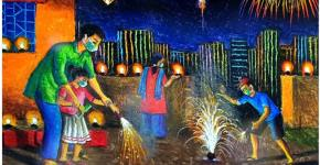 diwali celebration drawing