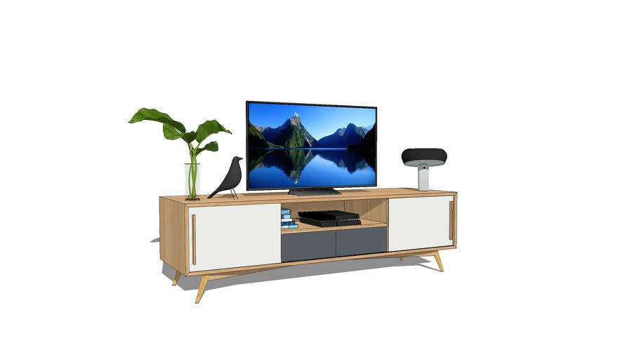 meuble tv en chene avec 2 tiroirs gris
