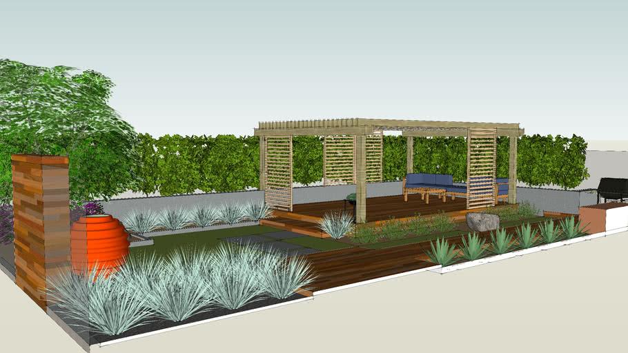 modern backyard pergola deck