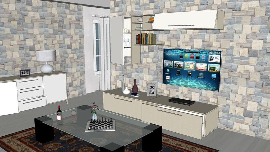 Scopri tutti i mobili per il soggiorno: Parete Soggiorno Giulia Mondo Convenienza 3d Warehouse