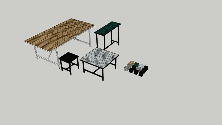 herringbone tile tables warm nordic