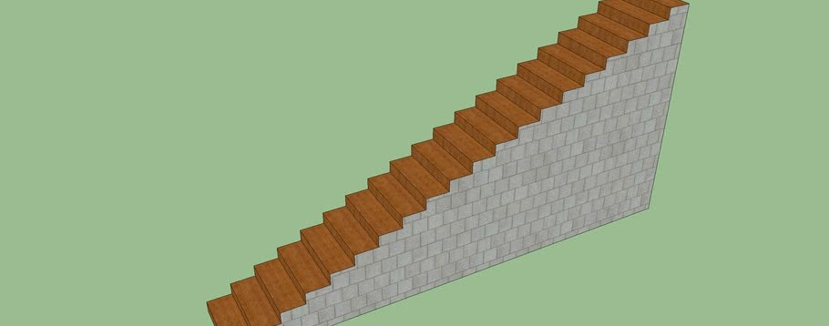 Stairs With Wood And Concrete Block Base 3D Warehouse   Wood And Concrete Stairs   House   Internal   Glass   Small Space   Pinterest