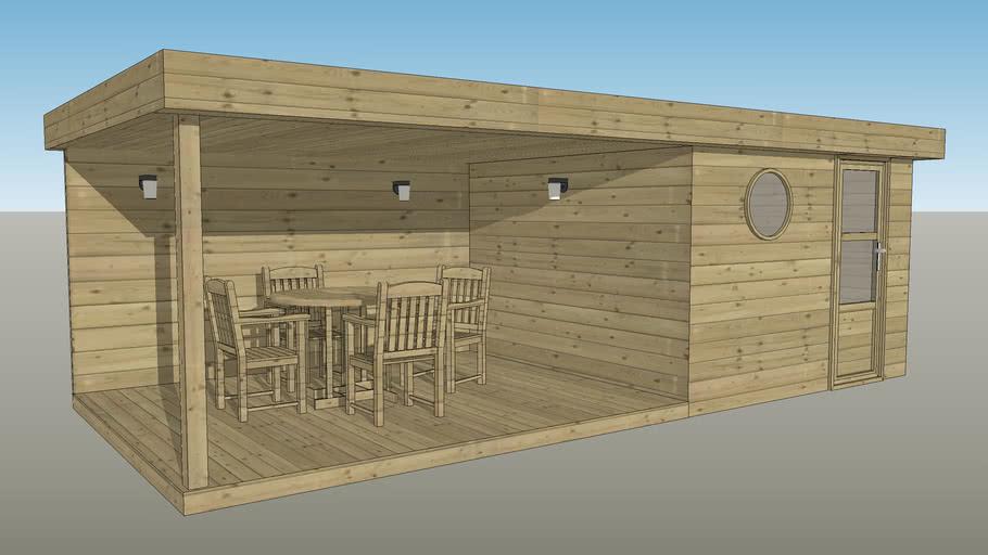 abri bois toit plat 320x320 avec