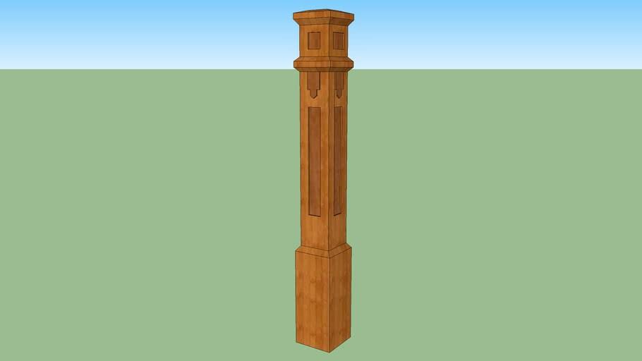 Craftsman Style Newel Post 3D Warehouse | Craftsman Style Newel Post | Design | Staircase | Railing | Square | Interior