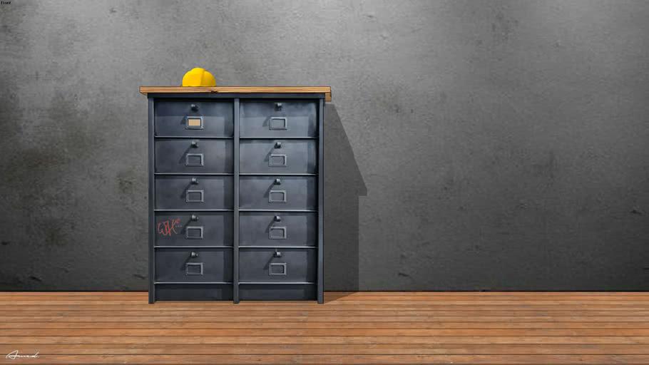 meuble industriel metal 3d warehouse