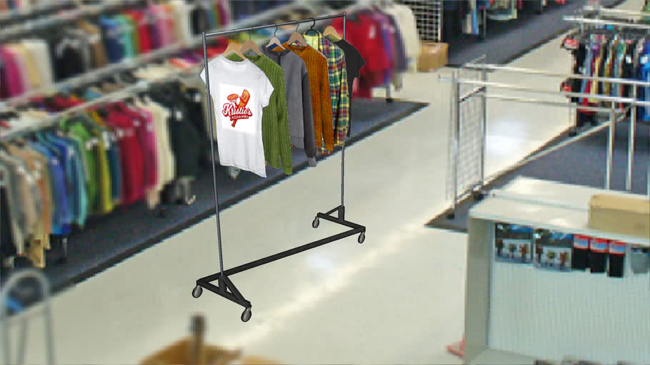 clothes rack with clothes 3d warehouse