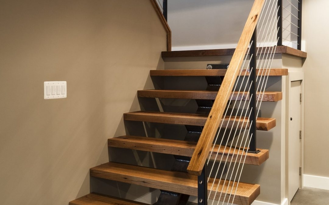 Cable Railing Vs Wood Railing Owings Brothers Contracting | Metal And Wood Interior Railings | Contemporary | Art Craft | Black Glass Interior | Wood Cap | Metal Exterior Brown