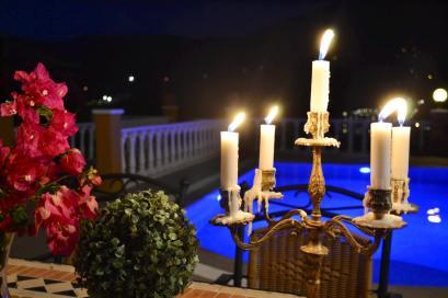 POOL AT NIGHT - VILLA FOR SALE KARGICAK TURKEY