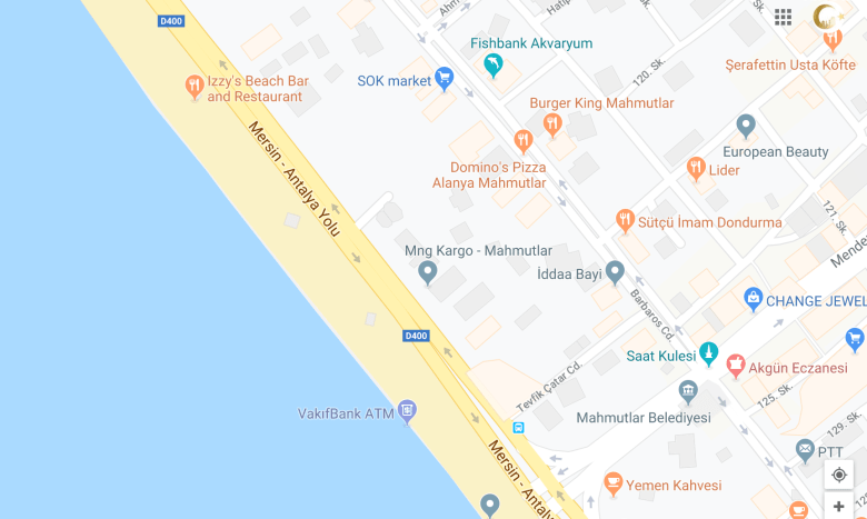 MAP TO IZZYS BEACH CLUB THE ULTIMATE ALANYA GUIDE, WE LOVE MAHMUTLAR NEIGHBOURHOOD FEATURES IZZYS BEACH BAR AS THE BEST BEACH IN MAHMUTLAR, OUTSTANDING FOOD AND SERVICE