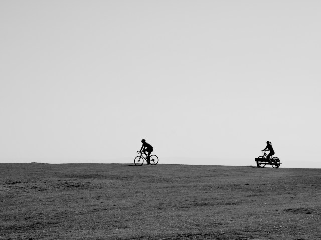Cycling in Lockdown Cold Knap, Barry, Vale of Glamorgan Framed Photographic prints for sale