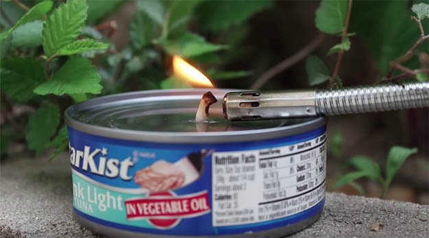 Use any Fire Starter to Light up the Wick | How to Make a Tuna Oil Lamp