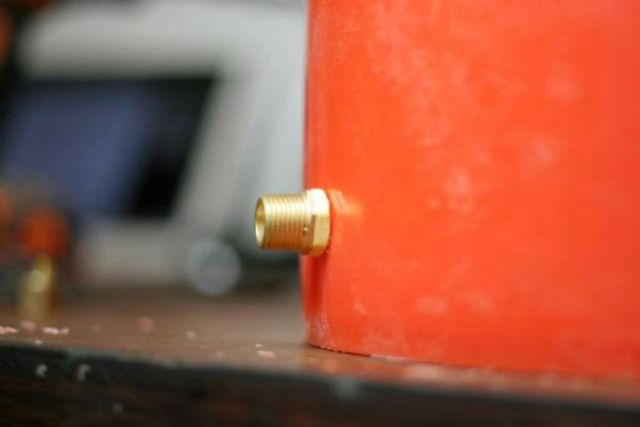 Insert compression fitting into the bucket | How To Make A Moonshine Still