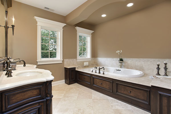 Classic-Brown-Bathroom-With-Lights-And-Bathtub-Neutral