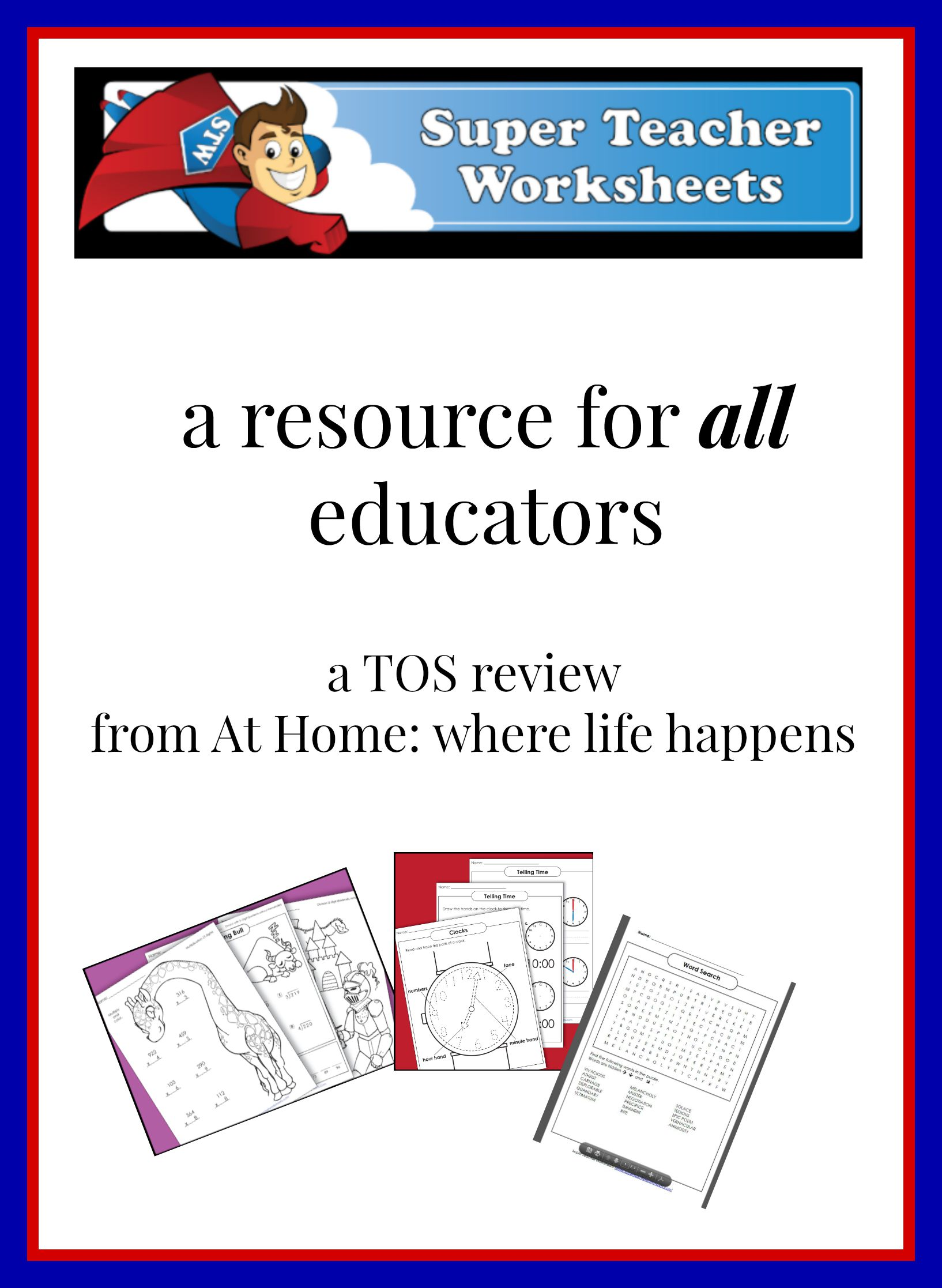 Printables Of Super Teachers Worksheets Math