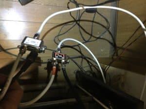 分波器と分配器を使って、室内のテレビ配線作業。岡垣町にて