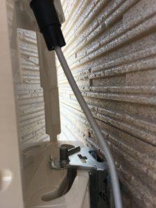 デザインアンテナ取り付けは真ん中の取り付け穴が一番安定して固定される。北九州市にて