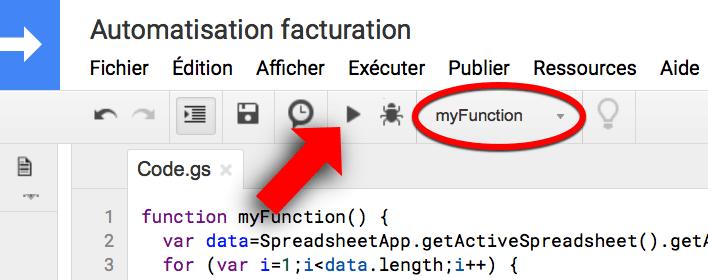 Comment lancer l'exécution d'un script Google