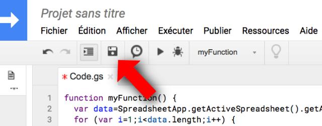 Menu pour sauver un script Google