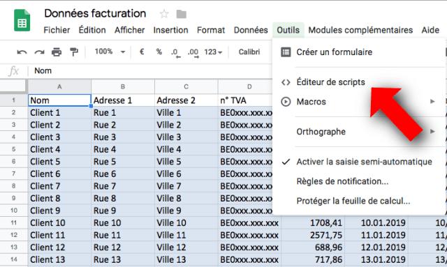 Google Sheets: accès à l'éditeur de script