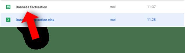 Nouveau fichier Google Sheets