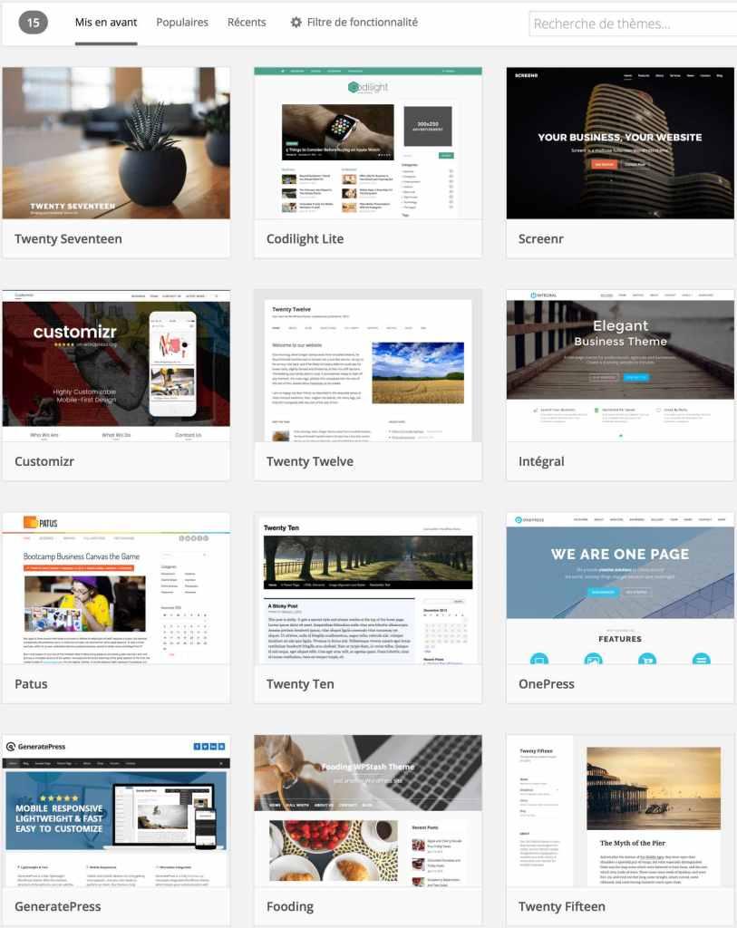Exemple de choix de thèmes WordPress