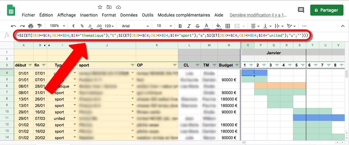 Google Sheets formule