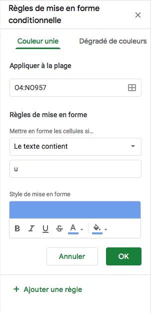 Google Sheets mise en forme conditionnelle