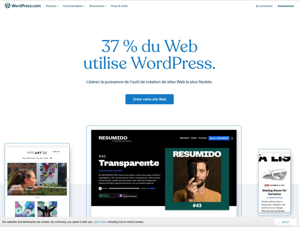 WordPress page d'accueil