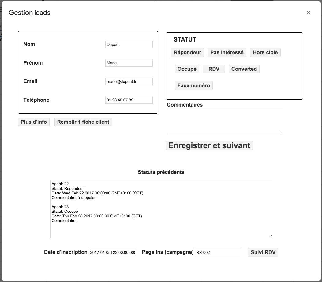 gestion automatisée de leads avec Google Sheets