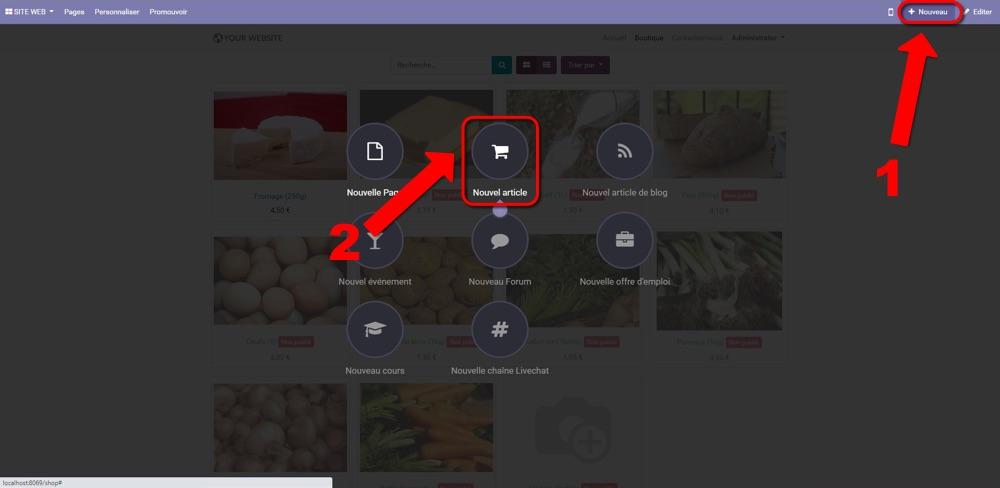 odoo ecommerce import nouveaux articles