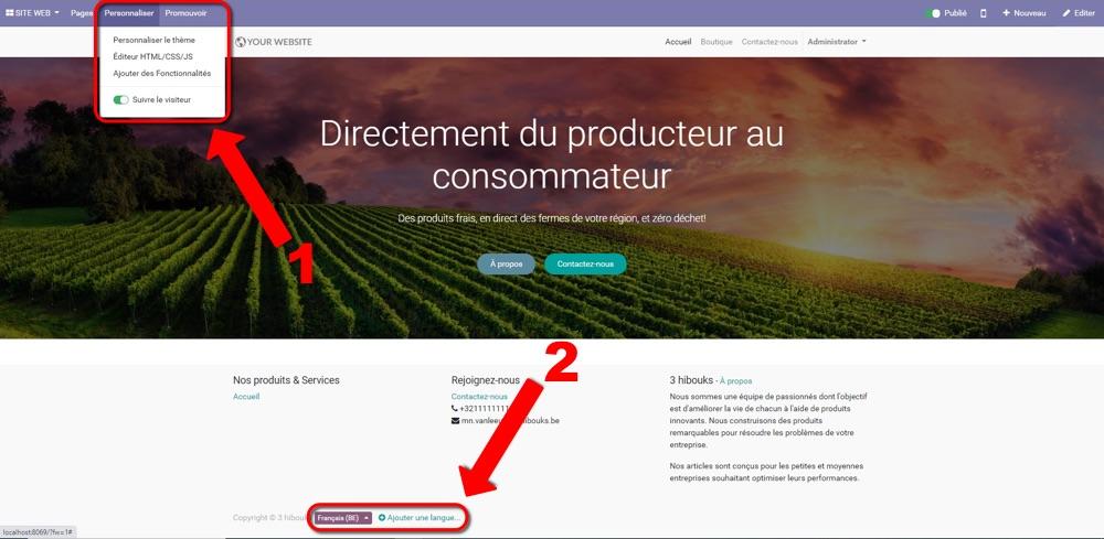 odoo ecommerce personnalisation du website