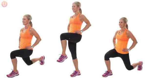 Pass through lunges are a great move for your glutes.