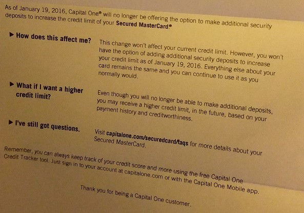 Getting a credit limit increase feels a little like getting a promotion or raise on your job. Capital One Secured Cards Can No Longer Have Funds Added To Increase Credit Limit Doctor Of Credit