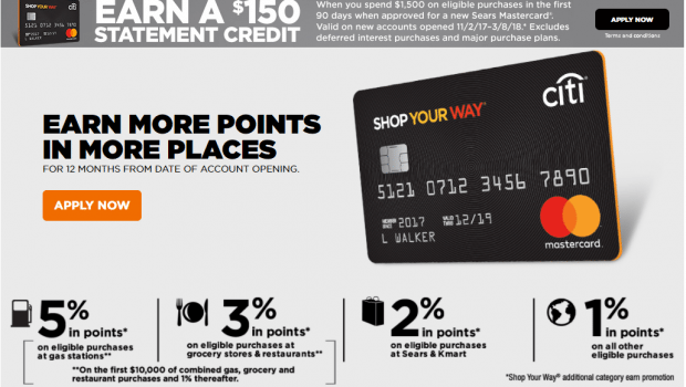 May not be combined with other shop your way or sears credit card offers. Citi Sears Mastercard - $150 Sign Up Bonus & Great Ongoing Spend Bonuses + 5%/3% Categories ...