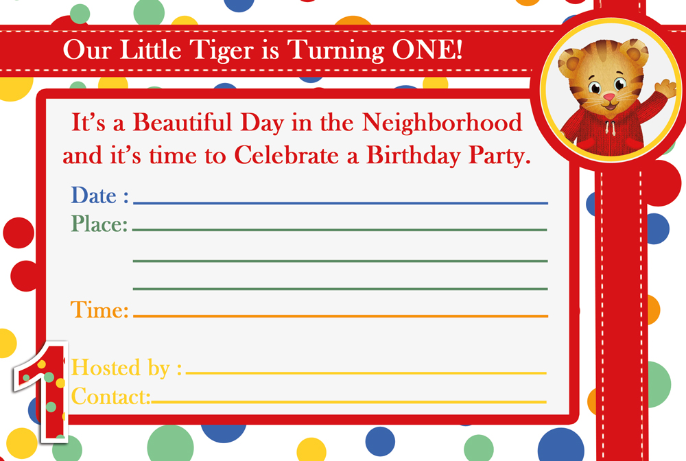 Daniel Tiger 1st Birthday Party Invitation 3in1 Events More