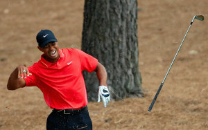 "Tiger said a ""bone popped out"" when he caught a root Sunday, to which Bill Macatee expertly replied ""Really?""."