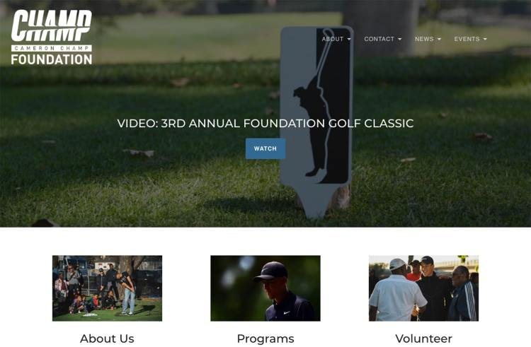 Cameron Champ Foundation homepage screenshot