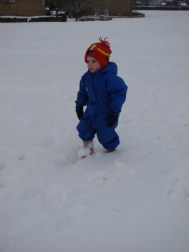 Deep snow for a small boy!