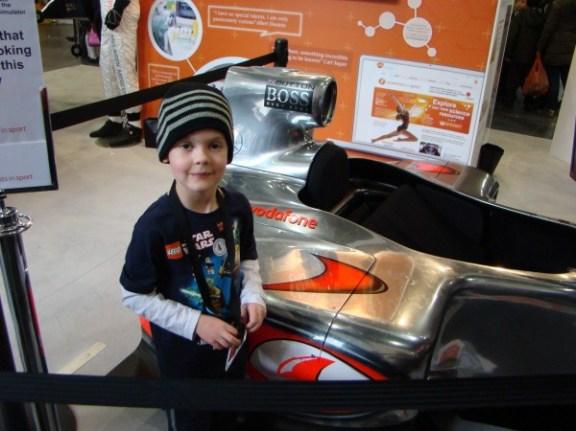 Thomas and a Formula One car