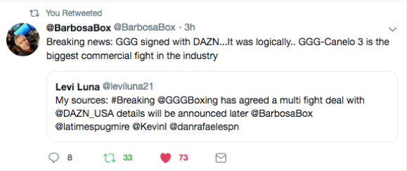 Source Tweet About Glovkin and DAZN Deal
