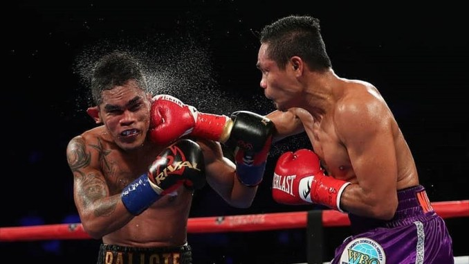 Donnie Nietes punches Aston Palicte in their September 2018 Title match