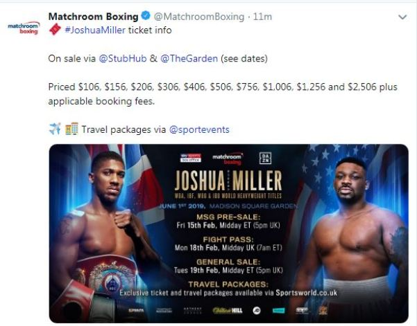 Anthony Joshua vs Jarrell Miller Ticket Information