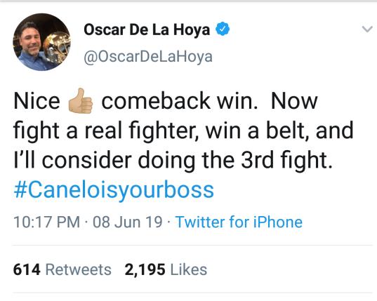 Oscar De La Hoya Tweet Post GGG vs Rolls