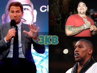 Eddie Hearn, Andy Ruiz and Anthony Joshua
