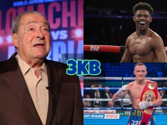 Bob Arum, Shakur Stevenson and Josh Warrington